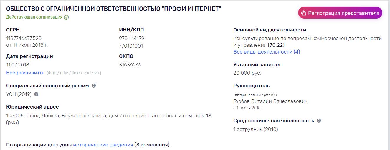 """Информация об ООО """"Профи Интернет"""""""