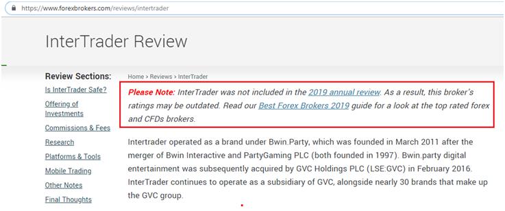 InterTrader не входит в рейтинг форекс-брокеров