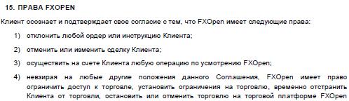 Права FXOpen