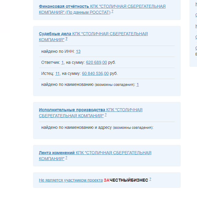 """Информация о КПК """"Столичная Сберегательная Компания"""""""