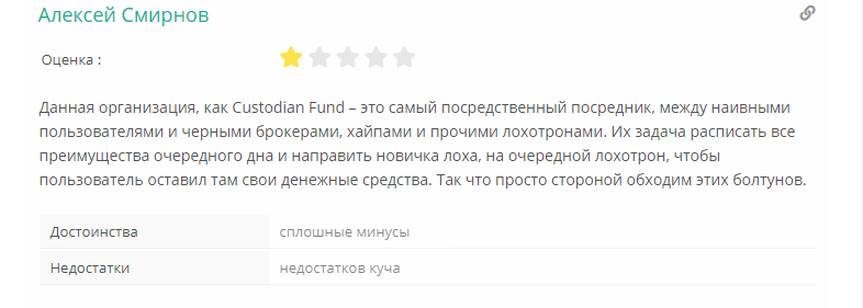 Custodian Fund отзывы
