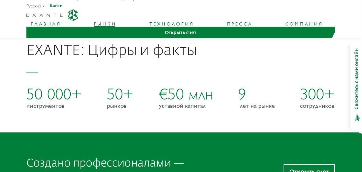 Официальный сайт exante.eu