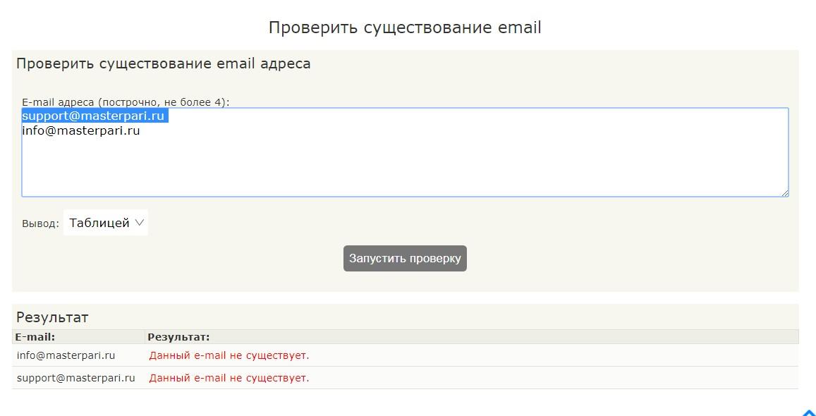 Не существующие адреса электронной почты