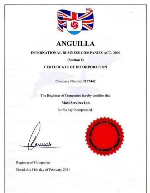 Лицензия о регистрации в Ангилье
