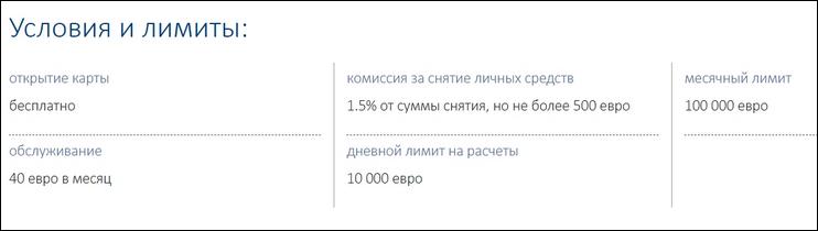 Условия по вкладам - лимиты
