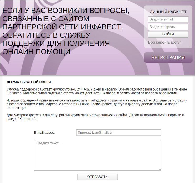 Информация раздела «Контакты»