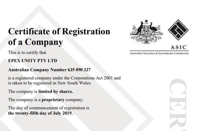 Сведения о регистрации компании
