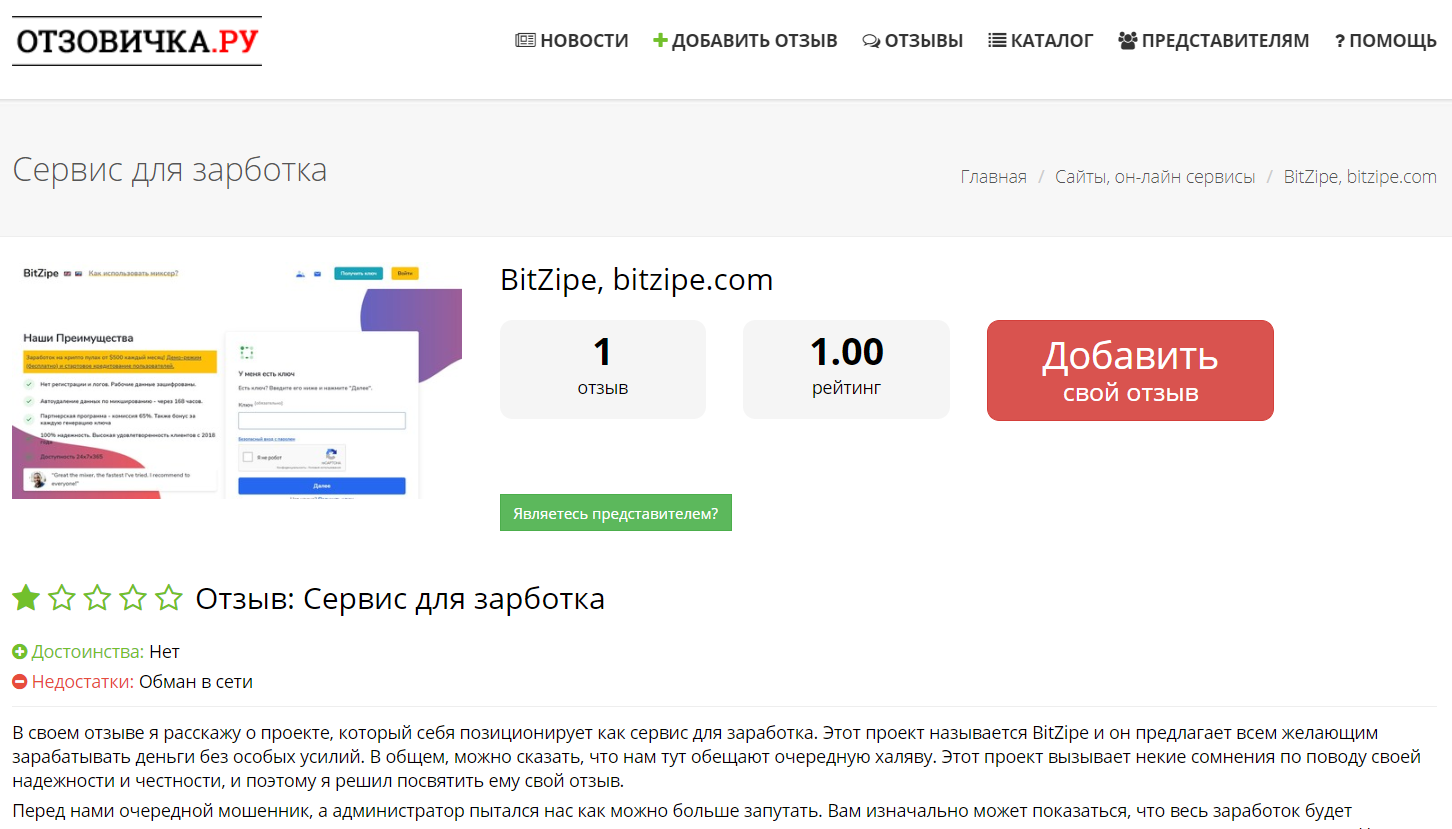 Отзывы о проекте BitZipe