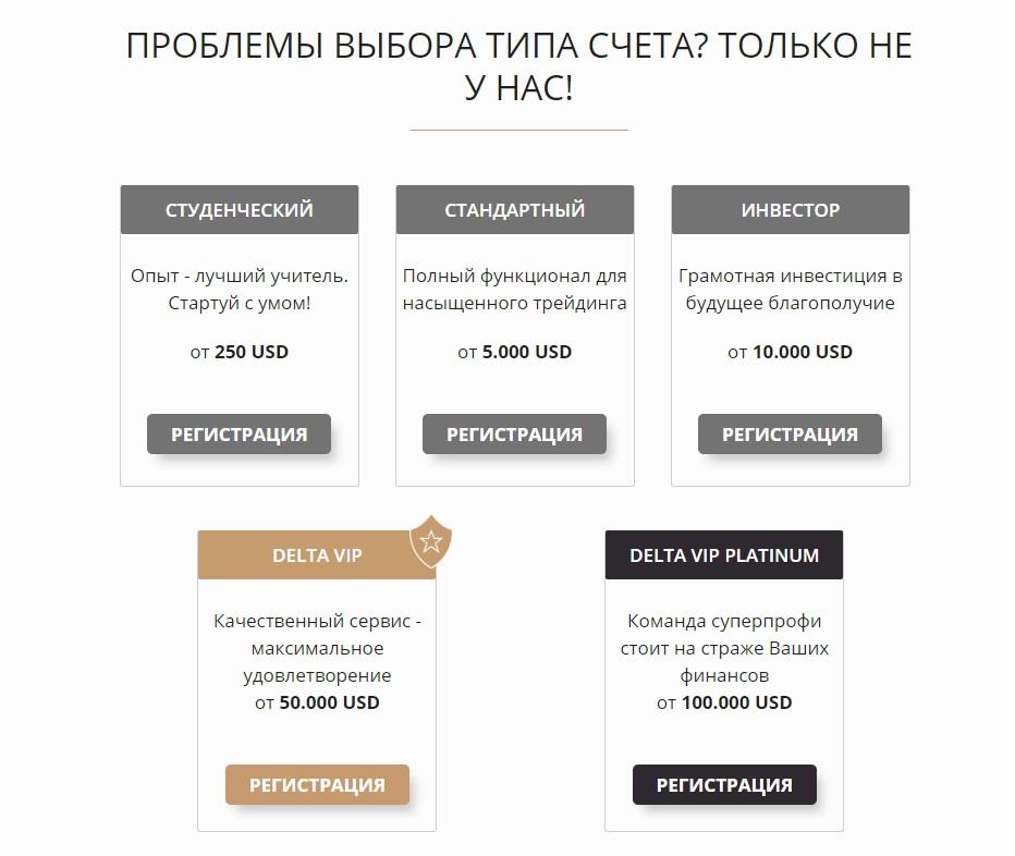 Типы счетов на сайте