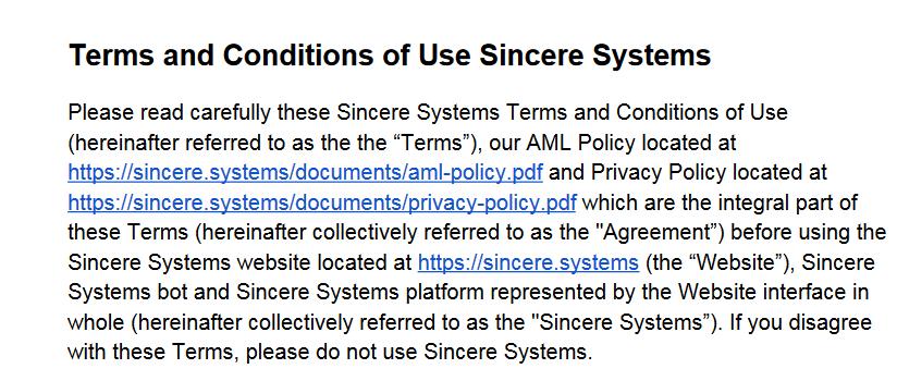 синсере системс соглашение