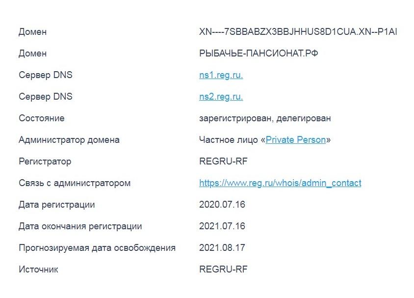 Данные о домене рыбачье-пансионат.рф