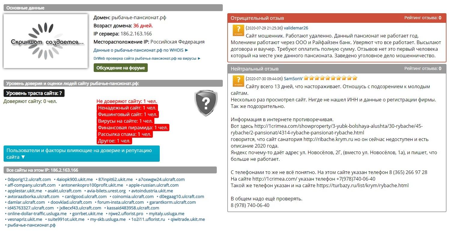 Отзывы о сайте рыбачье-пансионат.рф