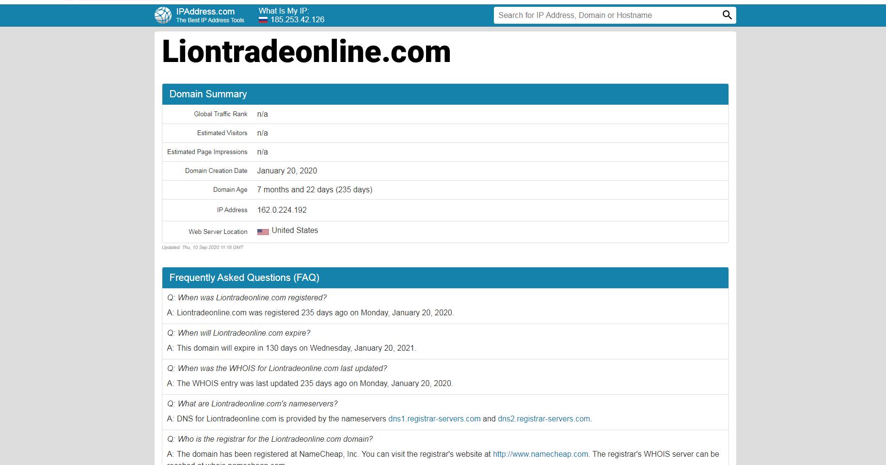 Адрес фирмы Lion Trade Online