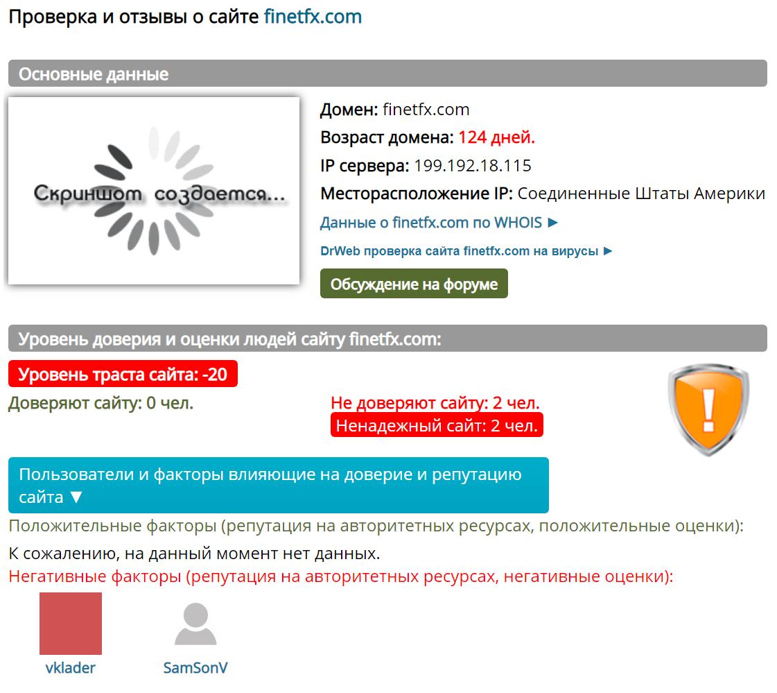 Домен finetfx.com создан 15 июня 2020 года