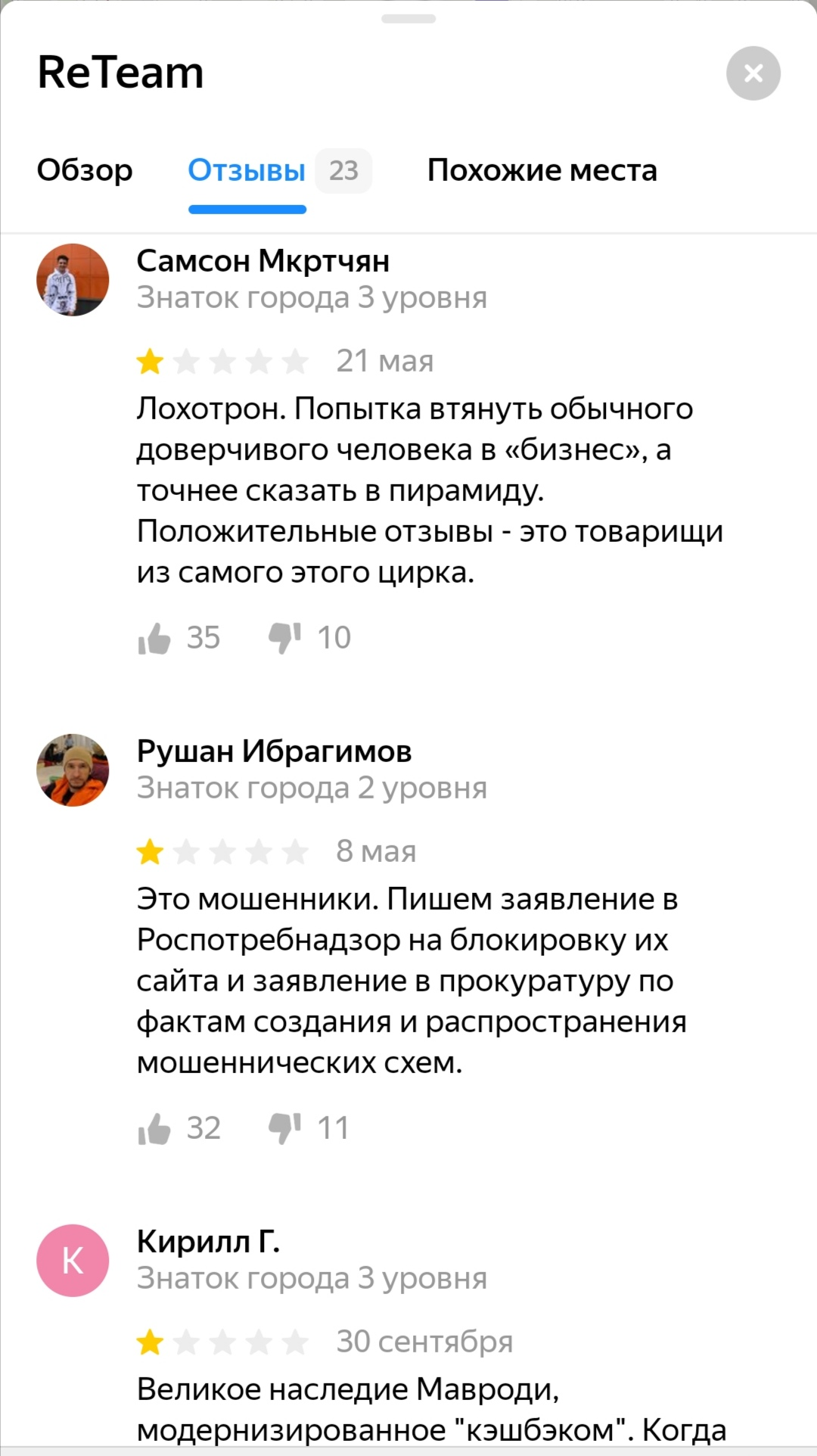 Мнение пользователей о ReTeam