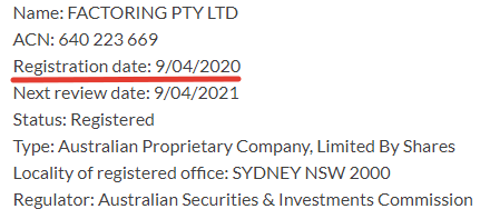 Анализ даты регистрации Factoring PTY Ltd.
