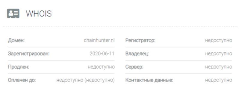 Данные о регистрации Chainhunter