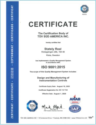 Сертификат Stately Real
