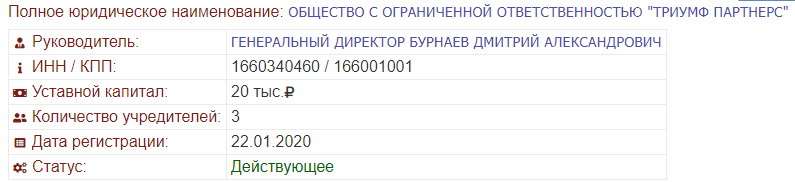 Фирма зарегистрирована 22 января 2020 года