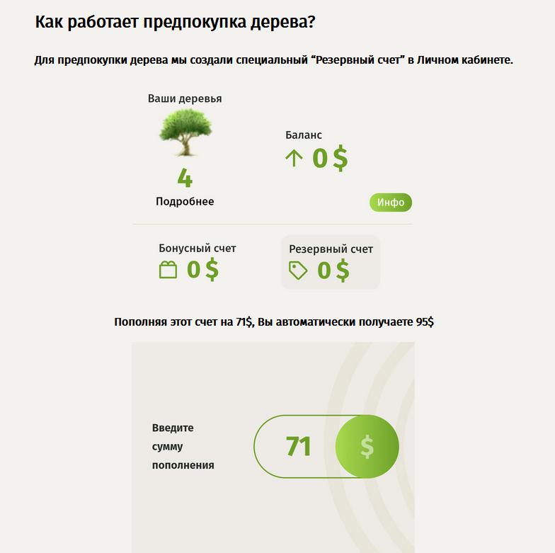 Фирма занимается предварительной продажей деревьев
