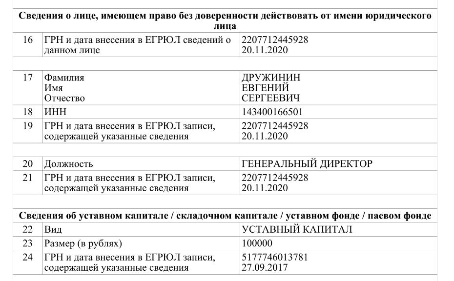 Генеральным директором является Дружинин Евгений Сергеевич