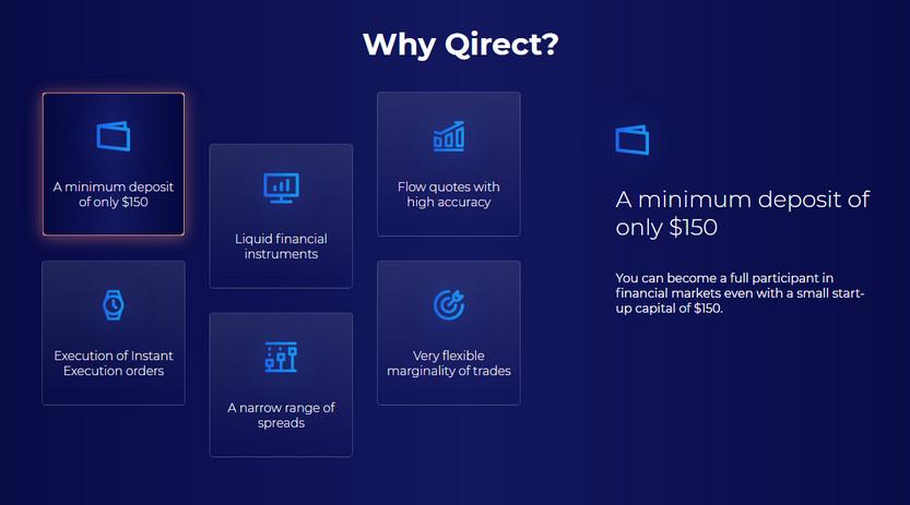 Qirect - минимальный депозит 150$