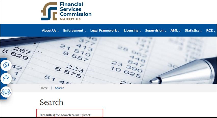 Qirect отсутствует на сайте регулятора FSC