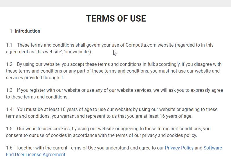 Договор с пользователями на английском языке