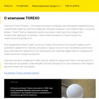 Главная сайта Torexo finance