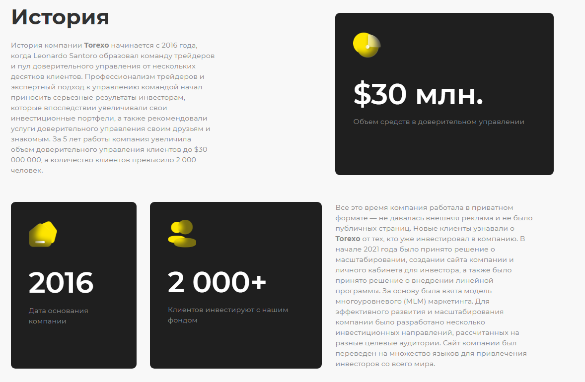 История Torexo finance