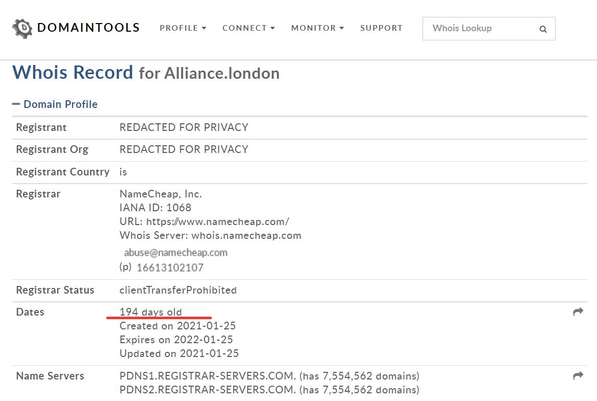 Возраст домена European Legal Alliance